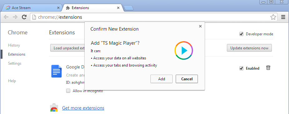Ts magic player для chrome